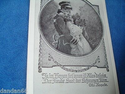 old WWI German Imperial soldier love scene PC Postcard W H Braun Otto Roquette