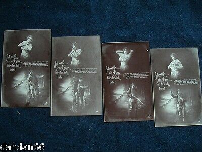4 LOT SET old WWI German Imperial Soldier & Love PC Postcard HEART I PRAY rifle