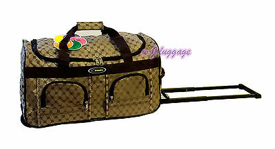 "New Brown 20""rolling duffle bag carry on luggage travel bag in-line skate wheels"