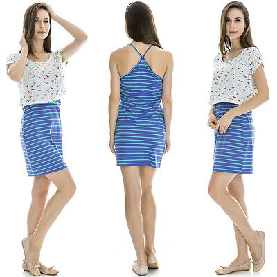 Maternity Clothes Breastfeeding Nursing Summer Dress With White Shirt Over Top