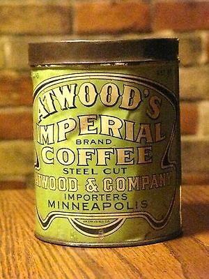 ANTIQUE COFFEE CAN ATWOOD'S IMPERIAL BRAND ATWOOD & COMPANY IMPORTER MINNEAPOLIS