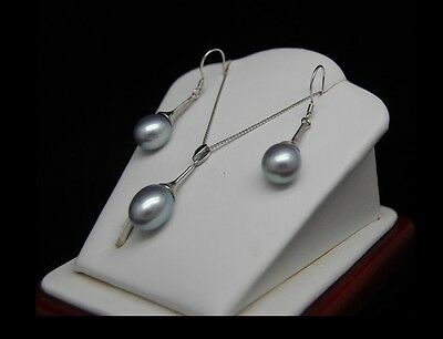 "MP"" Beautiful 9-10MM Oval Shape Silver-Gray AAA+ pearl Sets"