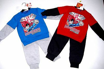 New Boys Superman Jogging Suit Blue Grey Red Grey 2 Piece Set 2 3 4 5 6 Years