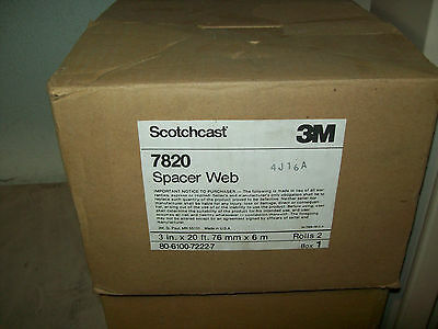 "**NEW BOX OF (2) 20 ft ROLLS)**SCOTCHCAST 3M 7820 Spacer Web 3"" x 40ft. total"