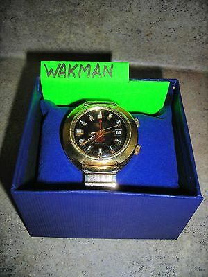 Vintage WAKMAN Alarm Watch #213 / CLEANED PROFESSIONALLY 2/2/15 (RUNS PERFECT)