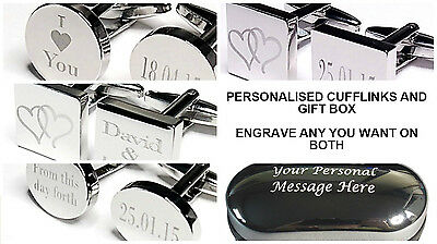 Engraved Silver Cufflinks & Personalised Gift Box Cuff Link Wedding Best man