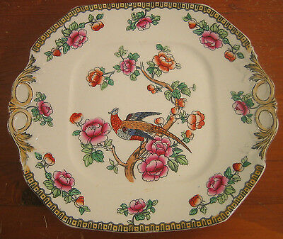 Antique F Winkle Pheasant Bird Square Handled Cake Plate Smooth Whieldon Ware