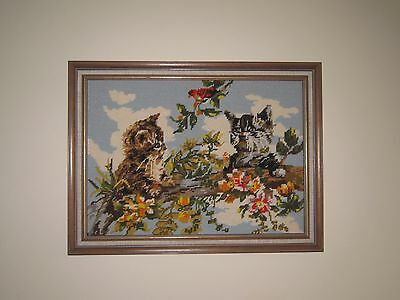 Beautiful Framed Needlepoint Tapestry Of Two Kittens Up A Tree.