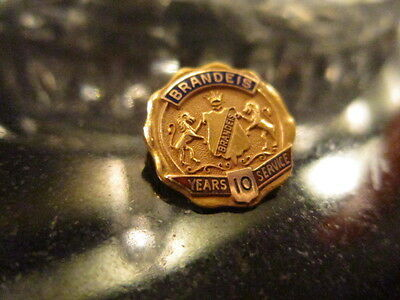 Vintage Solid 10Kt 10k Gold & Enamel Brandeis Service Year Pin 10 Years
