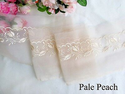 12.5 cm width Pretty Pale Peach/Cameo Brown Embroidery mesh Lace Trim