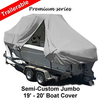 New Design with Zipper 600D 5.8-6.1m 19ft-20ft T-Top Jumbo Boat Cover Grey