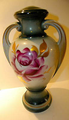 VINTAGE CERAMIC LAMP BASE HAND PAINTED ROSE PARTS  COTTAGE CHIC ROSES FLORAL WOW