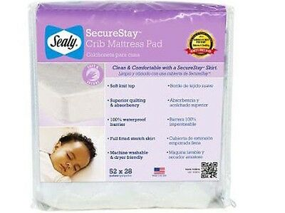 Sealy Secure Stay Snug Fit Waterproof Fitted Baby Crib Mattress Pad - Brand New