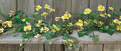 New IVY BERRY GARLAND Flowers Fern Vine Swag Primitive French Country Spring