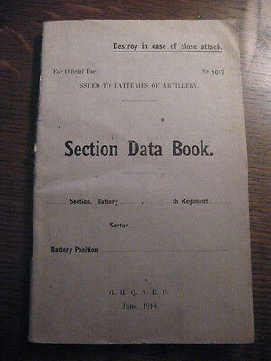 US Military 1918 Section Data Book G.H.Q.A.E.F. American Expeditionary Forces