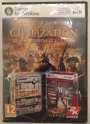 SID MEIER'S Civilization III & IV Complete Edition - 3 & 4 - PC DVD - BRAND NEW!