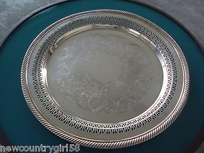 """Vintage WM ROGERS 170 Silver Plated 12 1/4"""" Round Serving Tray"""