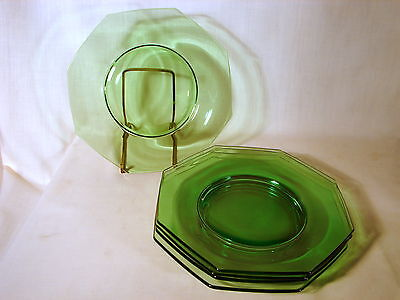 5 Old Heisey Octagon Green 7-1/2in Luncheon Plates, Excellent Used Condition