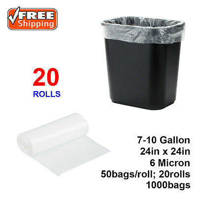 "SunnyCare® 7-10 Gallon 6 Micron 24"" x 24"" High Density Can Liner/ Trash Bag 1000"