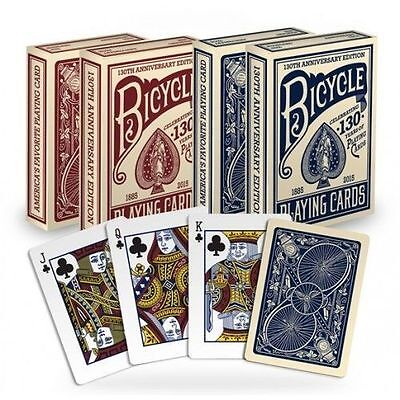 Set of 2 Bicycle 130th Anniversary Poker Playing Card Decks Red & Blue New decks