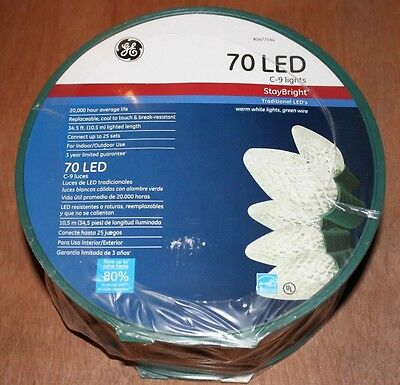 NEW GE 70 Count C9 Clear LED Staybright Warm White Christmas Lights w/ spool