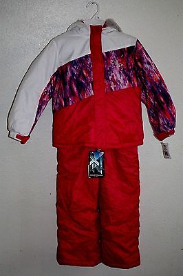 NWT Zero xposur girls snowsuit coat bibs white purple pink 2 pcs Size SRP $120