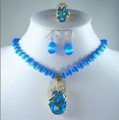 New blue opal necklace crystal pendant earring ring set