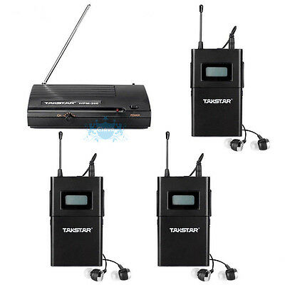 Pro Stage Takstar WPM-200 Wireless Monitor System In-Ear Transmitter 3 Receivers