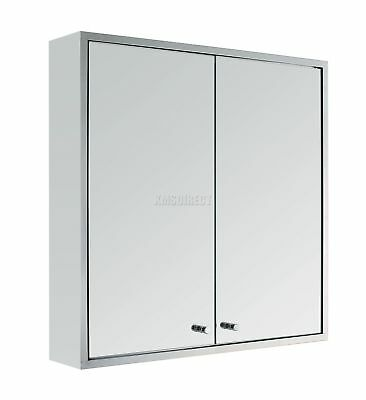FoxHunter Stainless Wall Mount Mirror Bathroom Cabinet Storage Cupboard Double