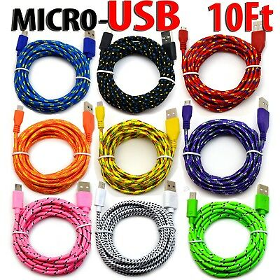 10' Foot Micro USB 2.0 cable For Samsung Galaxy Charging Sync Charger Cord lot