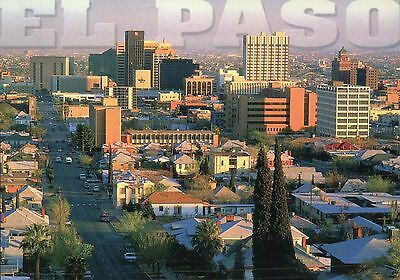 El Paso Texas, View of Street and Buildings, Holiday Inn etc., TX --- Postcard