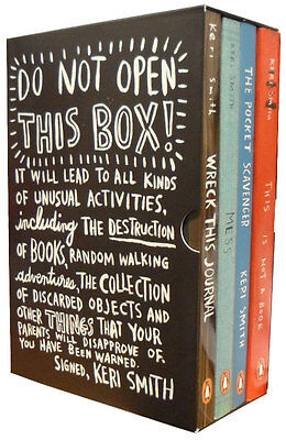 Keri Smith Do Not Open This Box 4 Books Collection Set Mess, Wreck This Journal