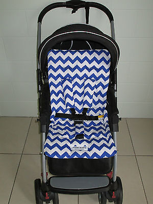 *BLUE CHEVRON*universal stroller,pram,car seat liner set *NEW*