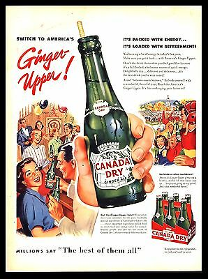Original 1953 Canada Dry Ginger Ale Soda Pop Vintage Advertising Art Print Ad