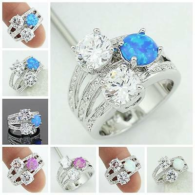 White Pink Blue Fire Opal CZ Women Jewelry Silver Plated Ring Sz 6.5 7.75 RJ46