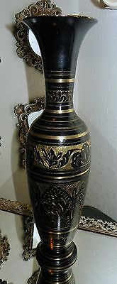 Elegant Tall Vintage Solid Brass & Black Enamel  Vase With  Etched Floral Design
