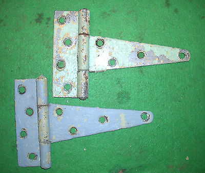"Pair Of 5"" Barn Door Hinges - Grey/green  Vintage Rustic Steel  #2700-9"