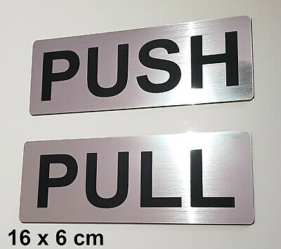 PUSH - PULL DOOR SIGN SET - LASER ENGRAVED - silver/black - NOT STAINLESS