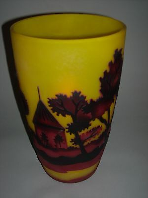 Stunning Large Galle Country Scene Vase