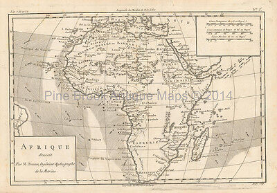 Africa Antique Map Bonne 1780 Original