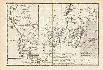 Mozambique Madagascar Antique Map Bonne 1780 Original