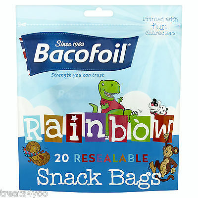 Bacofoil Rainbow 20 Resealable Snack Bags Printed With Fun Characters