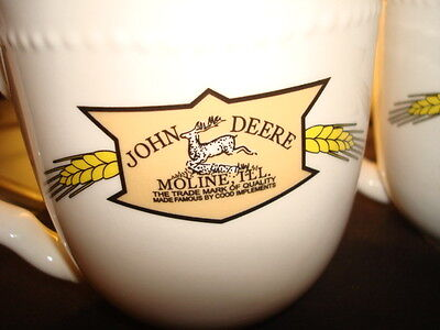 JOHN DEERE LOGO - SET OF 4 MUGS - Double Sided - Great Condition