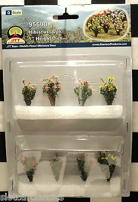 """Jtt Scenery 95608 Hibiscus 8/pk  O-Scale 1"""" Tall Red, Yellow & Pink  Jtt95608"""