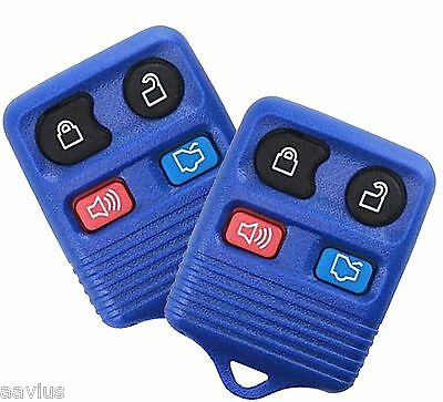 Best 2 Replacement Keyless Entry Remote 4 Button Key Fob For Ford Car SUV Blue