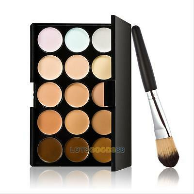 Party New 15 Colors Contour Face Cream Makeup Concealer Palette + Powder Brush