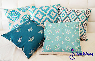 Aqua Home Decor Vintage Linen Cotton Cushion Cover Throw Pillow Case 45x45cm
