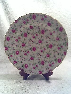 Vintage Lefton China, Rose Chintz Pattern # 659R, Luncheon Plate 9 1/8""