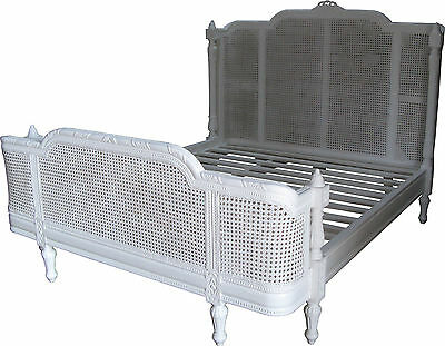 "4'6"" Double White French Provencal Francesca Bed Mahogany & Rattan Chic B002PW"