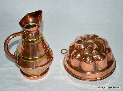 Magnificent vintage french cream jug and jelly mould mold copper pan cuivre